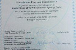 Сертификат Безделовой Евгении Викторовны