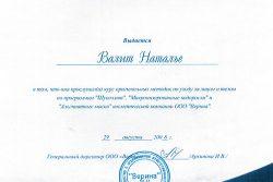 Сертификат Валит Натальи Владимировны
