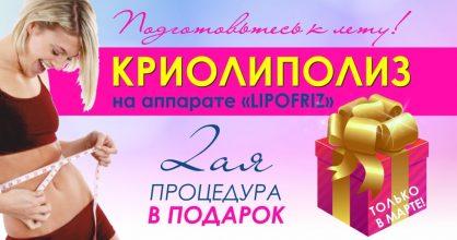 Весна – время обновлений! С 1 по 31 марта вторая процедура криолиполиза в подарок!